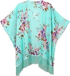 Women's Floral Kimono Cover Up - Lightweight Leopard Chiffon Beachwear for Bikini,Cardigan and Swimwear