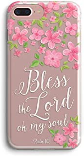 iPhone 7 Plus Case,iPhone 8 Plus Case,Flowers Christian Psalm 103 Bible Verse Bless The Lord Oh My Soul Clear Soft TPU Anti-Scratch Shock Absorption Protective Case Cover for iPhone 7/8 Plus