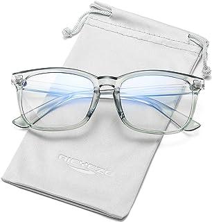 Blue Light Blocking Glasses Men Women Nerd Computer Gaming Eyeglasses, Safety Protective Lens Optical Frames, Fake Glasses (Clear Blue)