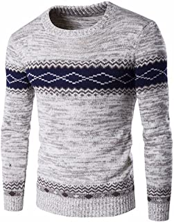 6ed2dbe517496 Wenyujh Homme Pull Tricot avec Losange Fashion Sweater Slim Manche Longue  Col Rond Décontracté Casual Outwear