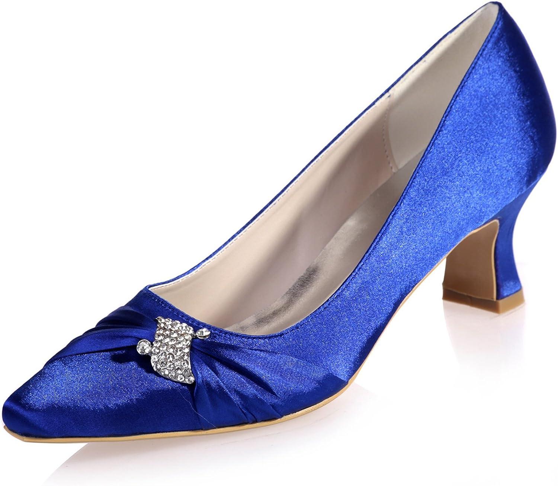 Elobaby Frauen Hochzeit Schuhe Chunky Pumps Faux Satin High Heels Low (5,5 Heels)