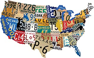 Johnson Smith Co. - Past Time Signs USA License Plates Sign - Custom Metal Steel Map of The Continental US