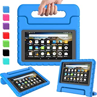 AVAWO Kids Case for Amazon Kindle Fire 7 2019, Kids Shockproof Convertible Handle Light Weight Stand Protective Case for All New Fire 7 Tablet (9th generation, 2019 release), Blue