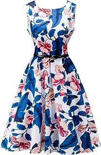 DREAMLOVER Women Floral Summer Retro Party Dress V Neck Sleeveless Vintage Tea Dress