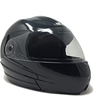 Anokhe Collections 2 in 1 Full/Open Face Flip up Helmet with Air filter (Magnificent Black, Medium)