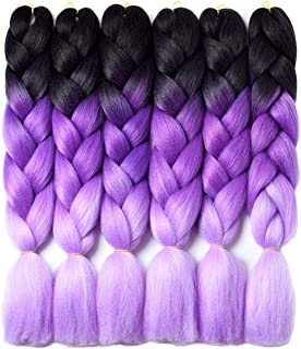 Ombre Braiding Hair Kanekalon Braiding Hair Synthetic Hair Extensions for Braiding Crochet Twist Box Braids 24 Inch 3 Tone Black to Purple to Light Purple 6 Packs Jumbo Braiding Hair
