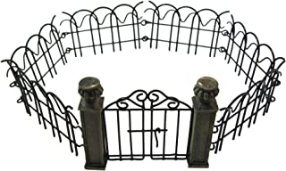 Mini Fairy Garden Pillar Gate and Fence Set Bundle of 2 Accessories for Fairy Gardens Items - 1 Miniature Gate and 1 Mini Folding Wire Metal Fence