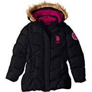 U.S. Polo Assn. Girls' Bubble Jacket with Faux Fur Trim Hood