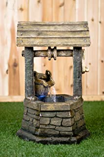 Hi-Line Gift Ltd Fountain- Wishing Well with Pouring Bucket & LED Light