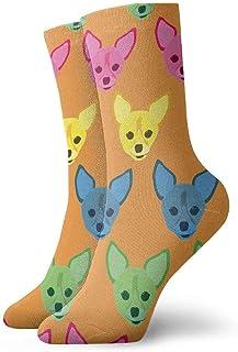 tyui7, Amarillo Azul Verde Rosa Pull Dog Pattern Calcetines de compresión antideslizantes Cosy Athletic 30cm Crew Calcetines para hombres, mujeres, niños