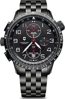 Victorinox - Hombre Airboss Mach 9 Chronograph Black Edition - Reloj de Acero Inoxidable/Cuero automático Hecho en Suiza 241742