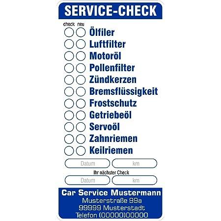 Aufkleber Service 46 X 82 Mm Checkliste Serviceliste Serviceaufkleber Kfz Mit Ihrem Firmeneindruck 384 Stück Bürobedarf Schreibwaren