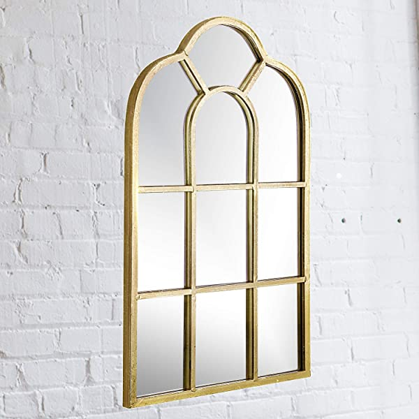 Simmer Stone Gold Wall Mirror Vintage Arched Windowpane Mirror Metal Framed Mirror Wall Decor For Bedroom Living Room Gallery Wall And Hallway