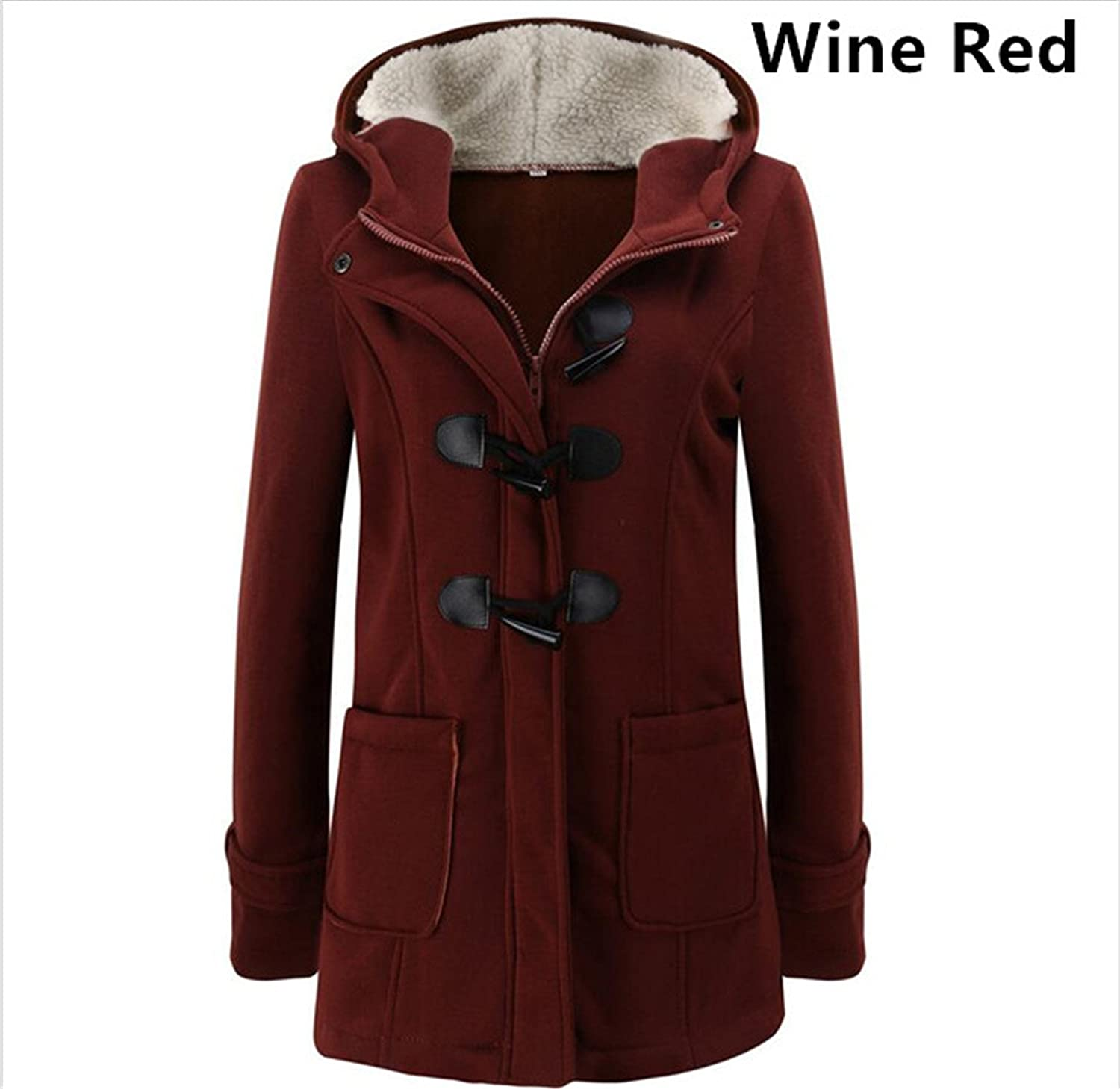 Reinhar New Fashion Autumn Winter Women Wool Blend Jacket Hooded Zipper Coat Horn Button Solid Plus Size Clothes for Female