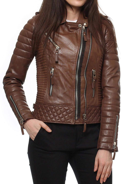 Alishbah Women's Leather Jacket Stylish Motorcycle Biker Genuine Lambskin WJ318