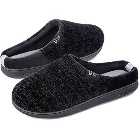 LongBay Ladies' Chenille Knit Slippers Comfort Memory foam Slip on House Shoes