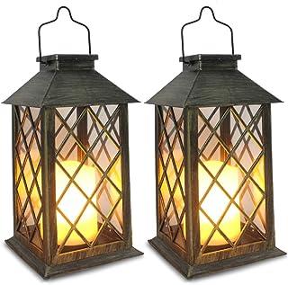فانوس خورشیدی SHYMERY ، فانوس آویز باغ در فضای باز ، مجموعه ای از 2 ، چراغ های مأموریت شمع بدون شعله LED ضد آب برای میز ، فضای باز ، پارتی تزئینی