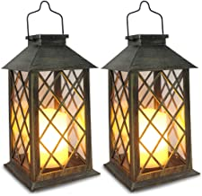 Solar Lantern,Outdoor Garden Hanging Lantern,Set of 2,Waterproof LED Flickering Flameless Candle Mission Lights for Table,...
