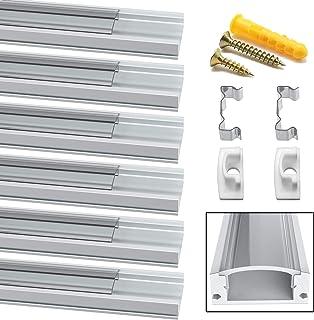 Perfil LED, Jirvyuk 5 Pack 1Meter/3,3 ft Perfil de Aluminio LED para Luces de Tira del LED con Cubierta Transparent, Los Casquillos de Extremo y los Clips de Montaje del Metal -Transparente (05)