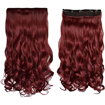 """REECHO 18"""" 1-Pack 3/4 Full Head Curly Wavy Clips in on Synthetic Hair Extensions Hairpieces for Women 5 Clips 4.0 Oz per Piece - Wine Red"""
