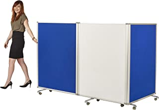 ECR4Kids Mobile Dry-Erase Room Divider and Partition, Double-Sided, Rolling Caster Wheels, Whiteboard and Flannel Felt, 3-Panel Dry-Erase Board, Lesson Board, Mobile Wall, Collapses for Easy Storage