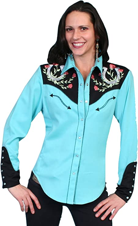 Vintage Western Wear Clothing, Outfit Ideas Scully Womens Horseshoe Embroidered Retro Western Shirt - Pl-637Tq  AT vintagedancer.com