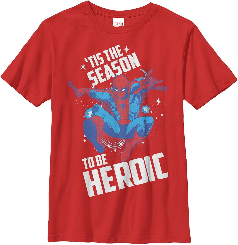Boy's Marvel Christmas Spider-Man Heroic Season T-Shirt - Red - X Small