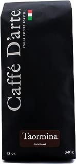 Caffé D'arte - Taormina Premium Espresso Blend Coffee, Dark Roast, Whole Bean, Authentic Italian Style, Handcrafted in Small Batches, Kosher. 12oz Bag