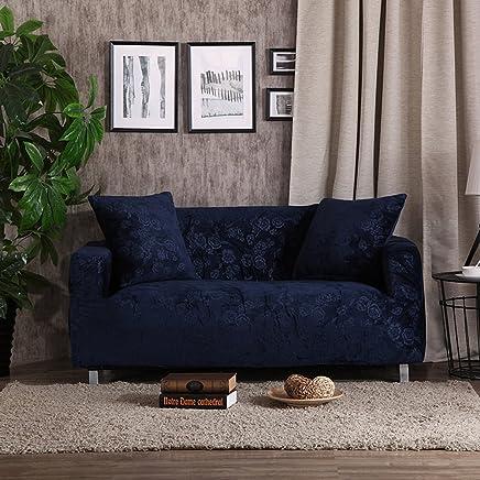 DW/&HX /Étirer la pleine couverture de sofa 1 pi/èce Housse de canap/é su/édine Protecteur de meubles pour 1 2 3 4 coussins canap/és sans taie d/'oreiller-Noir 2-places