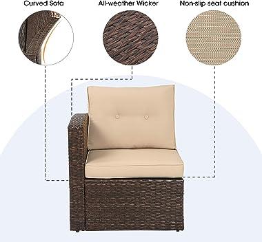Patio Furniture Corner Sofa Outdoor Loveseat, 2 Piece Wicker Rattan Outdoor Sectional Sofa Set with Non-Slip Cushions,Single
