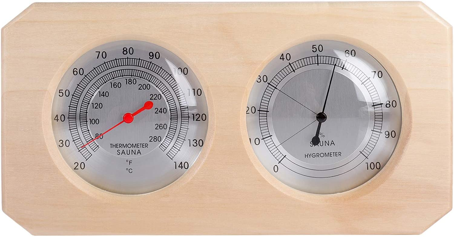 MIFXIN Sauna Thermometer Credence Hygrometer Max 79% OFF 2 1 Wooden Indoor in Humidit