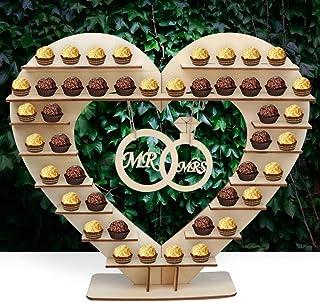 Soporte de madera con forma de corazón para bombones,