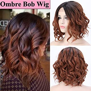 Short Ombre Wavy Bob Lace Front Wigs for Black Women Glueless Natural Curly Wave Heat Resistant Synthetic Hair Wigs Middle Part Cosplay Party (14inch,1B/30-Black to Light Auburn)