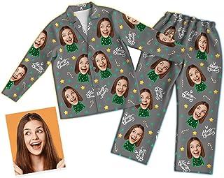 Conjunto de Pijama de Foto de Cara Personalizado, Pijama de Navidad Personalizado a Juego con la Familia, Ropa de Dormir de Elk Santa, Ropa de Dormir de Navidad para Mujeres y Hombres