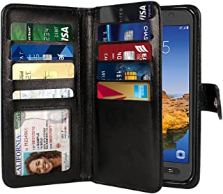 NEXTKIN Galaxy S7 Active Case, Leather Dual Wallet Folio TPU Cover, 2 Large Pockets Double flap Privacy, Multi Card Slots Snap Button Strap For Samsung Galaxy S7 Active G891 - Black