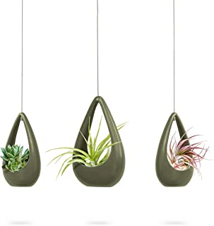 23 Bees | Hanging Air Plant Holder | Green Hanger Ceramic Planter | Small Floating Succulent Pots Container | Cactus Holders with Metal Wire | 3 Pack (3 Pack x Green)