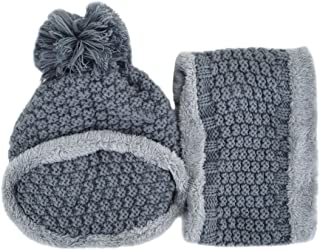 Monique Women 3 Pieces Beanie Hat Scarf Mask Set Soft Slouchy Knit Fleece Lined Skull Cap with Pompom