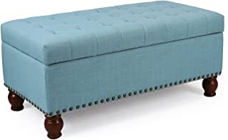 Adeco Fabric Sturdy Design Rectangular Tufted Lift Top Storage Ottoman Bench Footstool with Solid Wood Legs & Nail Head Trim - Princess Blue