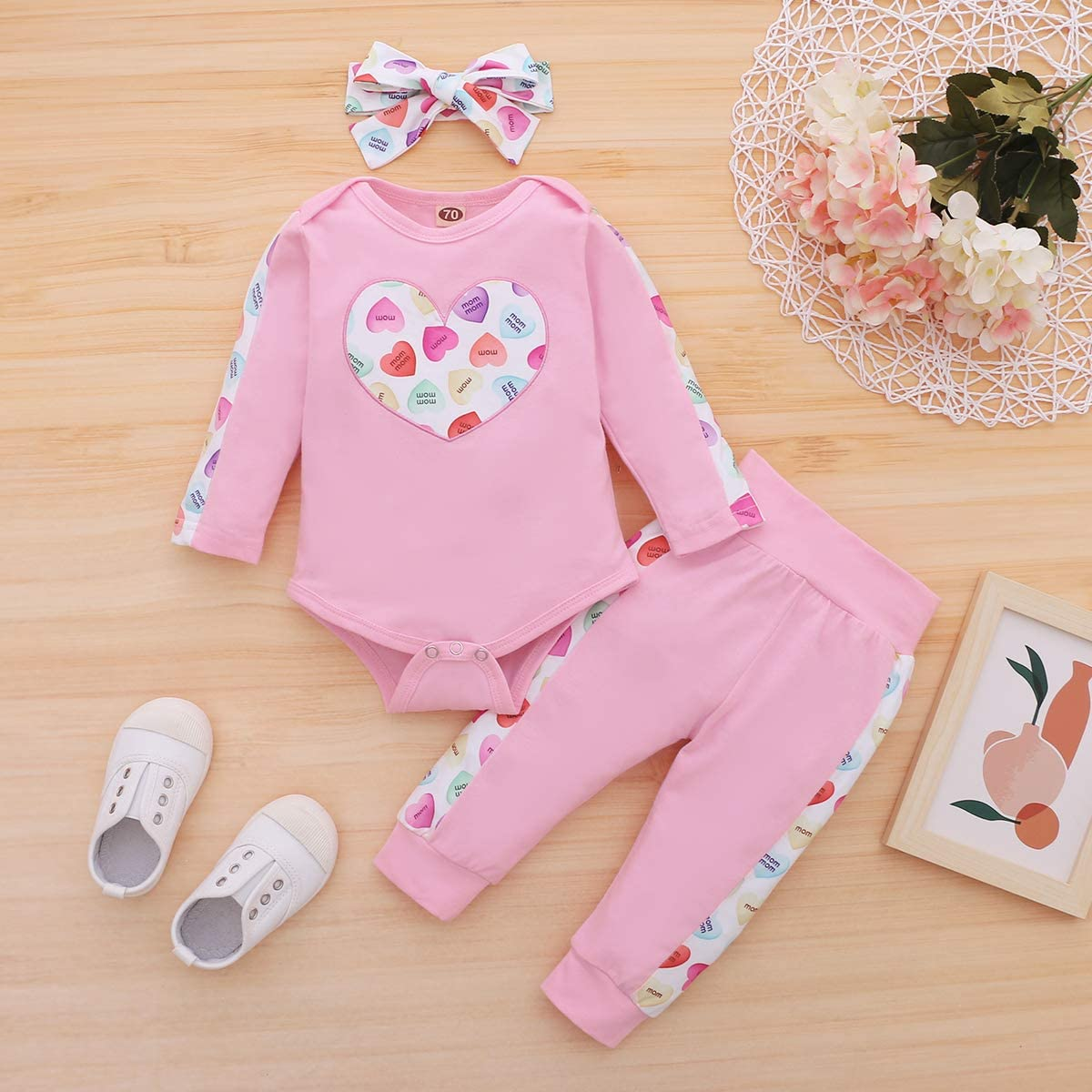 TUEMOS Newborn Baby Boy Girl Valentine/'s Day Cute Clothes Long Sleeve Romper Jumpsuit with Hat 2Pcs Outfit Set