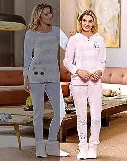 Dowry Kadın 09-760 Kaps.Welsoft Pijama Takim, Pembe, L Beden