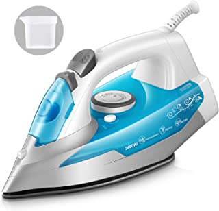 KotiCidsin Fer à repasser - 2400 W Fer à vapeur Céramique - 250 ml - Effet Pressing jusqu'à 200g/min, Bleu (anti-tartre, f...