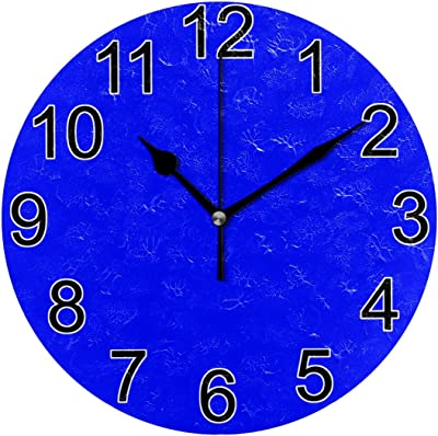 JERECY Wall Clock Blue Silent Non Ticking Acrylic 10 Inch Home Decorative Office School Round Clock Art