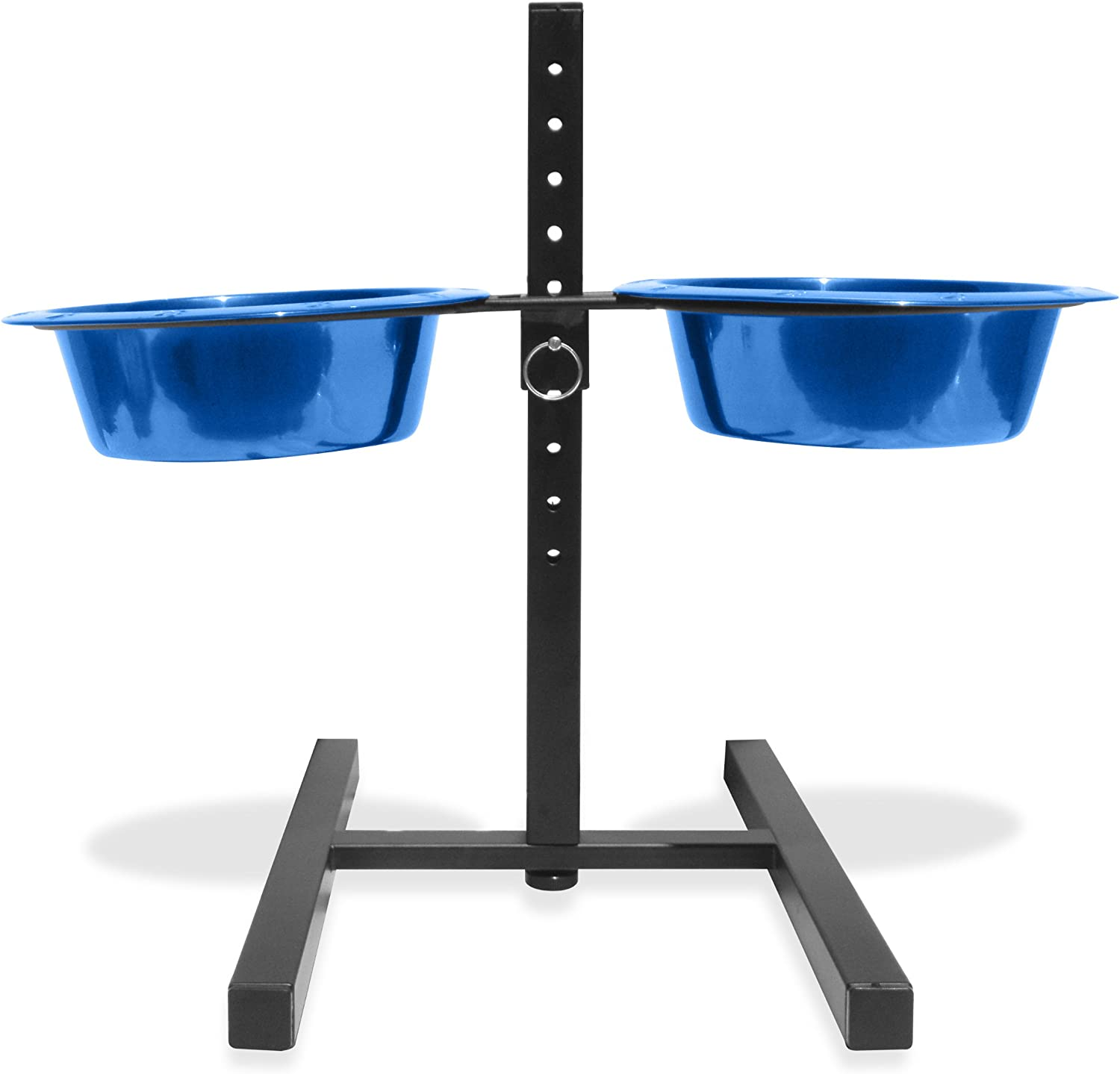 Platinum Pets 4 Cup Adjustable Raised Feeder Stand with two Sapphire bluee Bowls