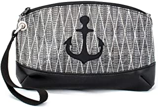 Recycled Sail Cloth Wristlet Purse Sailcloth Bag Black Nautical Gift