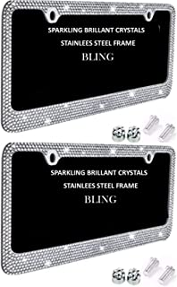 License Plate Frames 2 PACK Glitter White Crystal Rhinestone on Stainless Steel Chrome Plate Holder with Shiny Diamond Bling Front + Rear