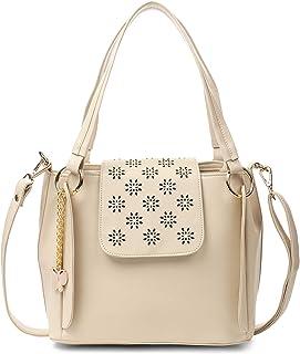 Butterflies Women's Handbag with Adjustable Strap for Women and Girls (Cream) (BNS 0761CRM)