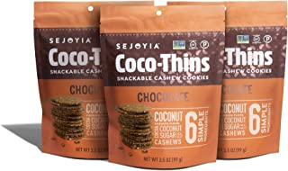 Sejoyia Gluten Free Vegan Coco Thins Paleo Keto Snacks, Chocolate, 3.5 Ounce (3 Count), Coconut Sugar