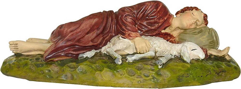 ferrari & arrighetti statuine presepe: pastore dormiente linea martino landi 10 cm 2410na15