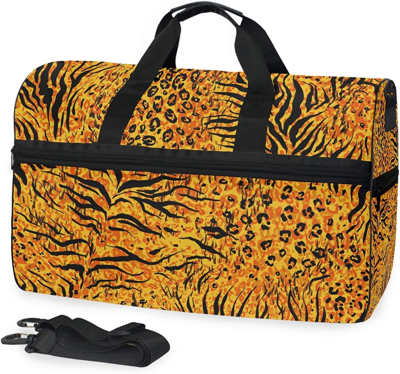 FANTAZIO Animal Tiger Yellow Skin Sports Duffle Bag Gym Bag Travel Duffel with Adjustable Strap