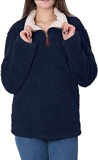 Fleece Sherpa Pullover Womens Sweatshirt Long Sleeve Soft Fuzzy Outwear Sweater Jacket 1/4 Zip Hoodie Coat with Pockets